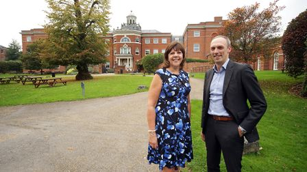 Sandra Clements and Matt Cuhls in front of the ReAssure office in Hitchin. Picture: Derek George