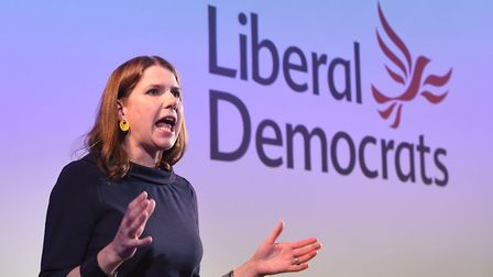 Jo Swinson giving her first major speech as Leader of the Liberal Democrats. Photograph: Stefan Rous