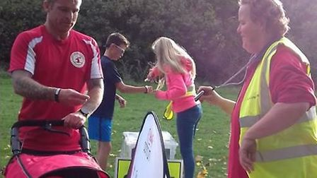 Tracy Norris on barcode scanning duty at Stevenage parkrun. Picture: Tony Randfield