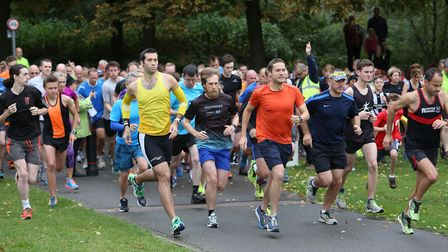 Runners set off at Stevenage parkrun, which was held for the 70th time on Saturday. Picture: Danny L