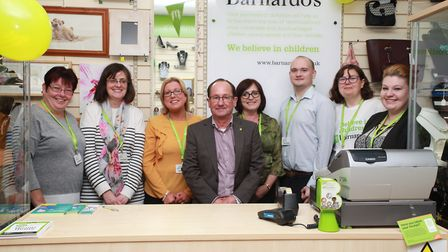 Barnardo's retail team with store manager, Claire Latimer, area business manager, Brian Gibson and S