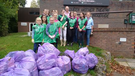 The Dell team during the Big Hitchin Autumn Tidy Up 2017. Picture: Ellie Clarke