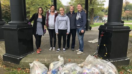 The Bancroft team during the Big Hitchin Autumn Tidy Up 2017. Picture: Ellie Clarke