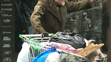 Anthony Hopkins during filming in Stevenage today. Picture: Nick Brigham.