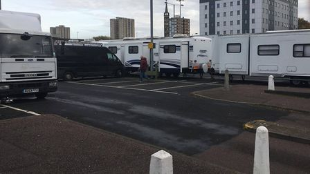 Film crews have taken over part of the council's car park next to the Holiday Inn. Picture: Nick Bri