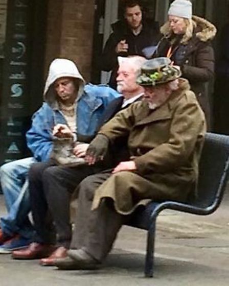Anthony Hopkins filming one of the scenes for King Lear in Market Place, Stevenage. Picture Nick Bri