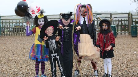 Children in Halloween fancy dress for the competition at Knebworth House pumpkin trail. Picture: Dan