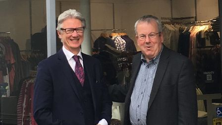 Peter Hawkins with Hitchin town centre manager Keith Hoskins. Picture: Hitchin BID