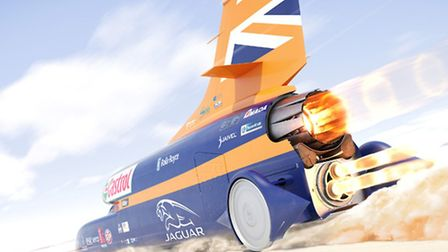 A depoiction of how the Bloodhound rocket car will look during its 1,000mph land speed record attemp