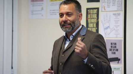 Sky Sports pundit and football author Guillem Balague speaks to pupils at Priory School. Picture: Da