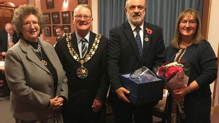 Councillor Michael Scott is thanked for his 25 years of service by Sandy mayor Councillor Colin Osbo
