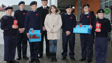 Biggleswade Sea Cadets with Commanding Officer Lt John Robinson RNR at the Asda store in Biggleswade