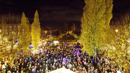 Crowds at last year's Welwyn Garden City Christmas lights switch-on event