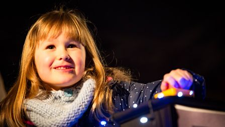 Last year's Hitchin Christmas lights are turned on by Molly Ivanoski-Nichol, who was six years old a