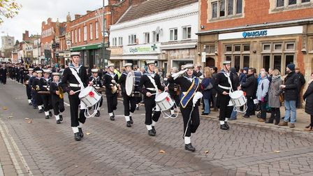 Marching at Biggleswade Remembrance Sunday service. Picture: Matt Margesson