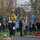 Remembrance Sunday: Flagbearers during the Stevenage service. Picture: Nick Gill