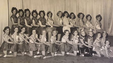 Hitchin dance leader Brenda Walker, third from left in back row, with dancers who performed in a sho