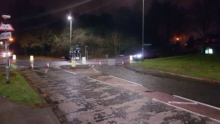 The road closure in place at Coots Corner, where Wymondley Road meets Hitchin Road. Picture: Danny P