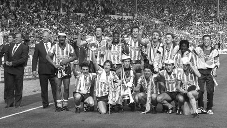 Coventry City celebrate with the FA Cup after winning 3-2 after extra time. (l-r top) George Curtis