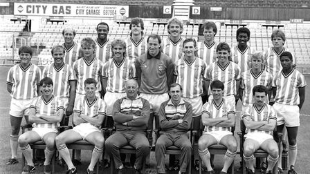 Coventry City squad for the 1986-87 Season. (back row l-r) Greg Downs, Cyrille Regis, Keith Houchen,