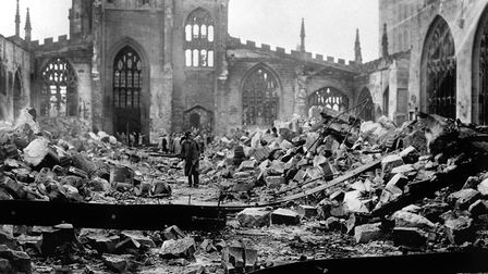The ruins of Coventry Cathedral, Warwickshire, after the Medieval building was destroyed by Luftwaff