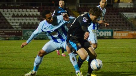 Luke Freeman on the ball during Boro's match against Coventry at Sixfields in March 2014