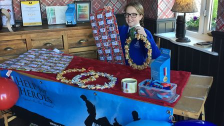 Georgina at her fundraising stall in The Crown pub. Picture: Bev Kelly