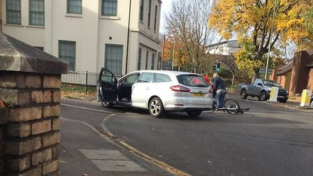 The scene after the crash at the corner of Nightingale Road and Grove Road in Hitchin. Picture: Dali