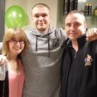 Jordan Allen, centre, with sister Stevie and dad Lee after he braved the shave for Macmillan. Pictur