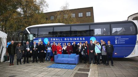 The Small Business Bus with local businesses in Stevenage Town Centre. Picture: Danny Loo