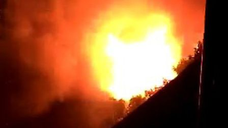 The blaze engulfed a shed in Stevenage Old Town.