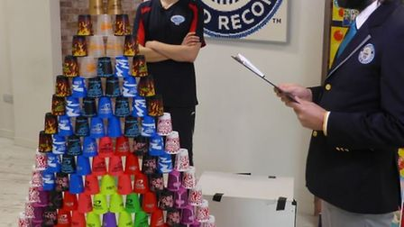 James Acraman stacked 171 cups in 59.10 seconds, breaking his own world record.