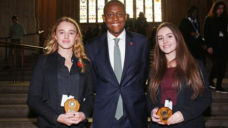 Hitchin and Harpenden MP Bim Afolami with the overall winning pair Millie Rice and Emma Shardlow, bo