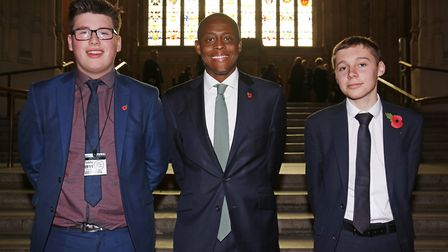 Hitchin and Harpenden MP Bim Afolami with the winning pair Felix Elliott and Ethan Gray from Hitchin