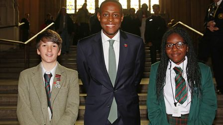 Hitchin and Harpenden MP Bim Afolami with the winning pair Patrick King and Aké Kibona from St Georg