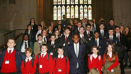 Hitchin and Harpenden MP Bim Afolami with pupils from schools in his constituency in the Houses of P