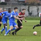 Action from Saffron Walden Town's clash with Ipswich Wanderers (pic Jamie Pluck)