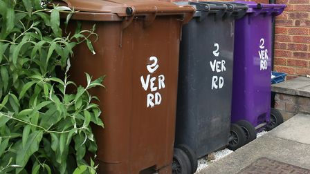 Bins in North Hertfordshire. The new contractor has been announced as Urbaser. Picture: Danny Loo