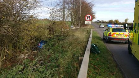 The Mini after it went off the road between Offley and Hitchin. Picture: BCH Road Policing