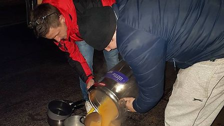 Volunteers made soup for the homeless using vegetables donated by Tesco in Sandy. Picture: Tracy Dor