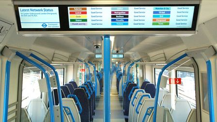 The interior of the new Class 700 trains running for the first time on the Great Northern line. Pict