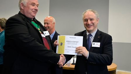 Eddie Asquith, right, of North Herts Speakers Toastmasters club. Picture: Miguel Soto