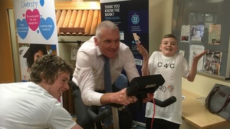 Headteacher David Pearce showing his pedal power. Picture: Martin Elvery