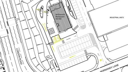 The plan submitted by McDonald's to Central Bedfordshire Council, showing a Biggleswade location off