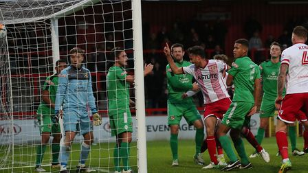 GOAL! Jonathan Smith smashes home from inside the six yard box. Picture: Danny Loo
