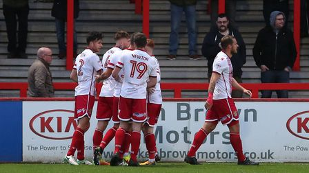 GOAL! Stevenage celebrate Jonathan Smith's first goal. Picture: Danny Loo