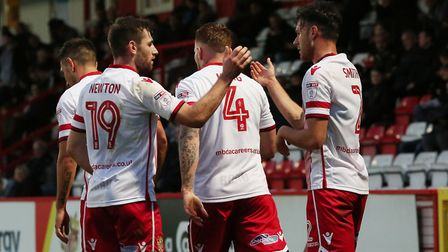 GOAL! Stevenage celebrate Jonathan Smith's second goal. Picture: Danny Loo