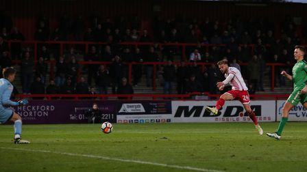 GOAL! Matt Godden rifles in his second goal and Stevenage's fourth. Picture: Danny Loo
