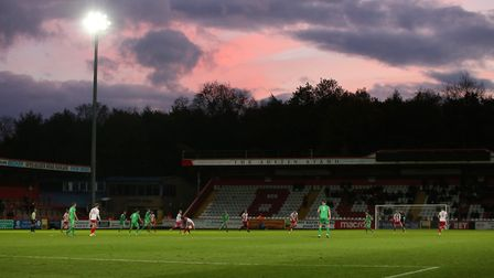 The sky shows some nice colours as the sun sets on Nantwich Town's FA Cup run this season. Picture: