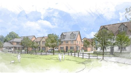 An artist's impression of what the new CALA development south of Sandy Road in Potton will look like